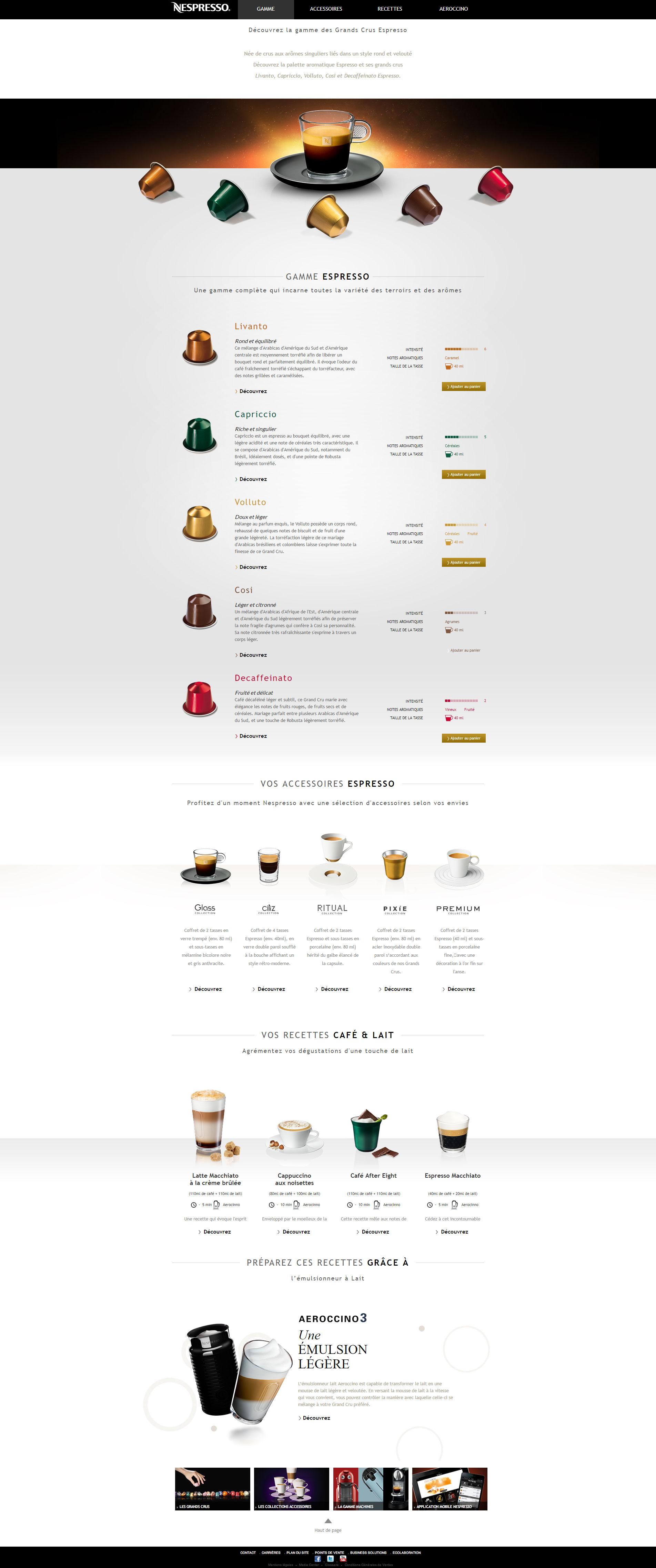 Landing page Nespresso